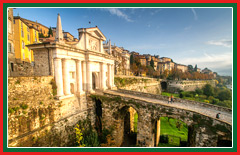 Venetian walls encircling the high city of Bergamo.