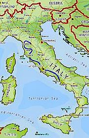 Map of Italy outlining the Central Tour