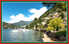 Mediterranean and neoclassical style villas line the shores of lake Como.