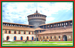 Sforza castle was originally a Visconti fortress and now houses museums and art.