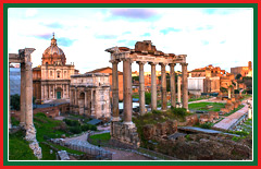 View the ancient remains of the Roman forum and Coliseum.