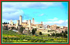 Travel to the medieval, walled town of San Gimignano.