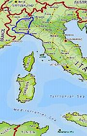 A map of the North-West Italy tour